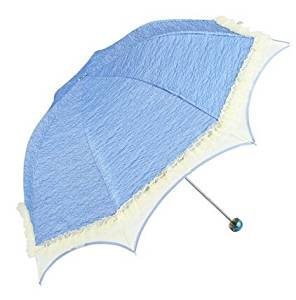 Biscount Princess Lace Parasol Sunblock Umbrella with Silver Lining - Uv Protection Umbrella for Rain or Sun-Blue