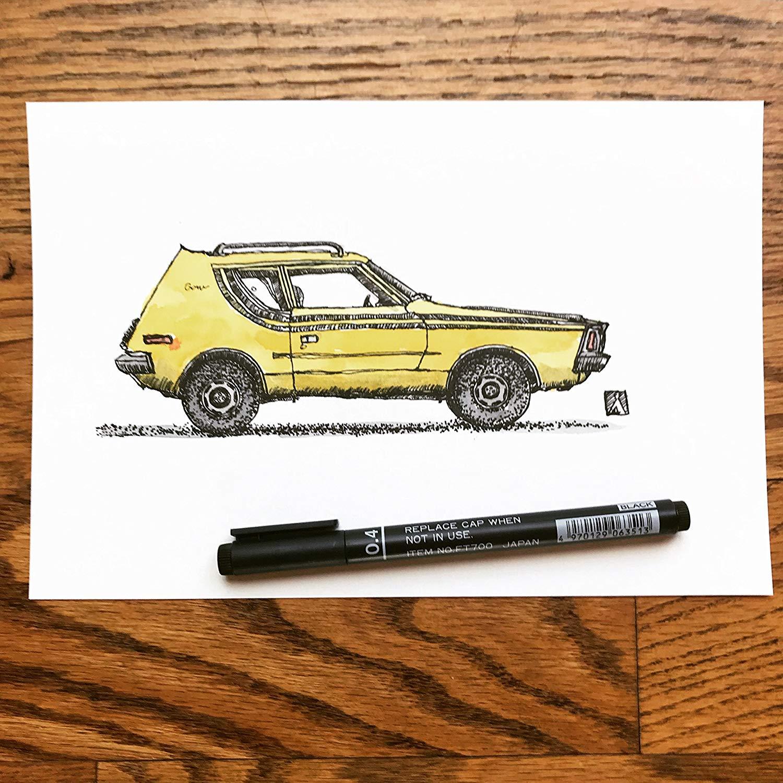 get quotations � original pen sketch of vintage amc gremlin compact car