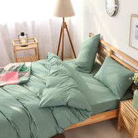 Super Soft Yarn Dyed Stone Washed Bedding Linen Twin Queen King Size Teal Bed Sheet Quilt Cover Set