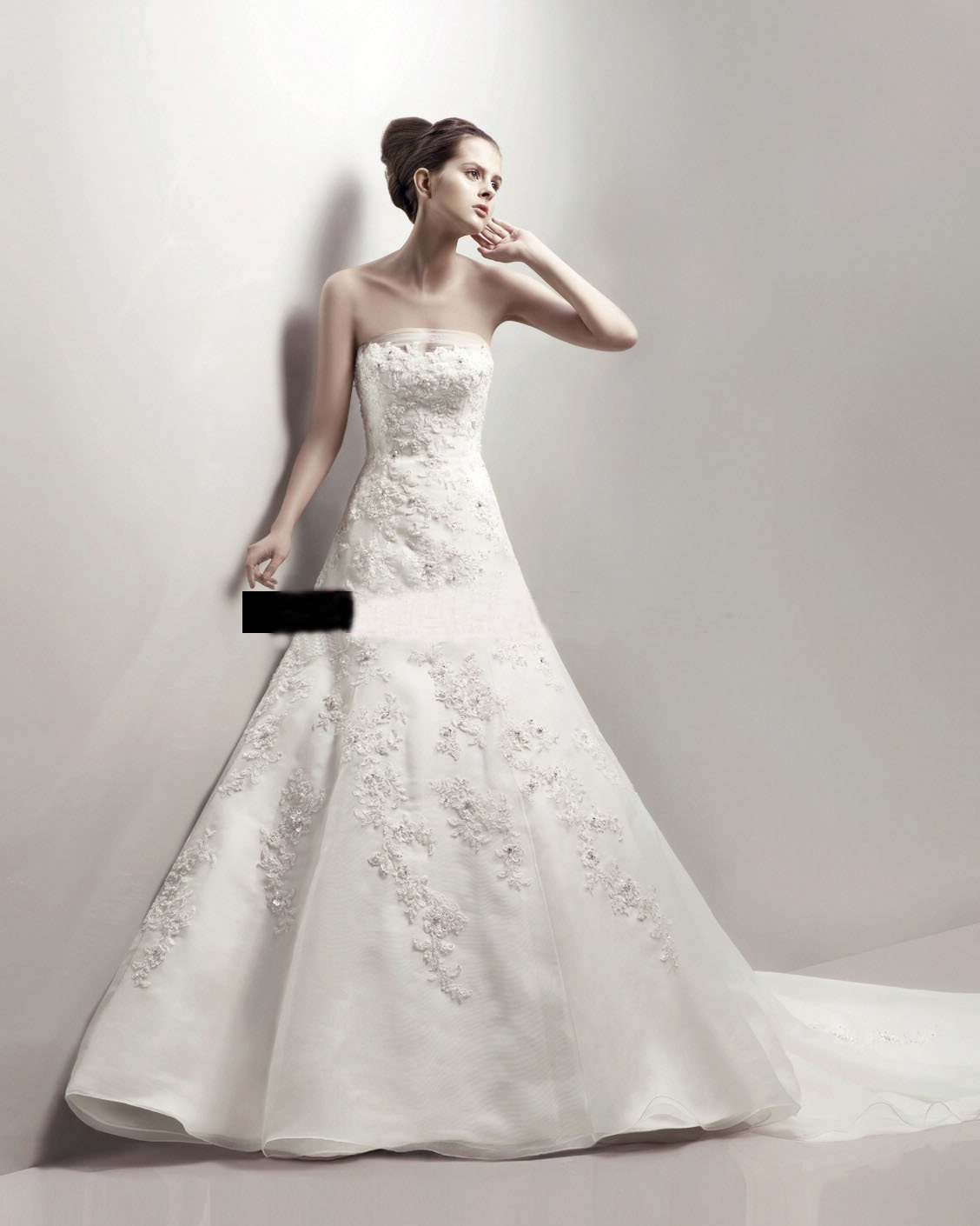 Classic Strapless Princess French Lace White Color Bridal