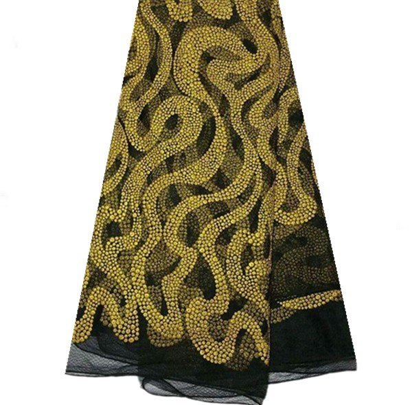KQL1-5! black+yellow gold!wholesale African net lace fabric,French lace fabric,new arrival net lace for party dress!