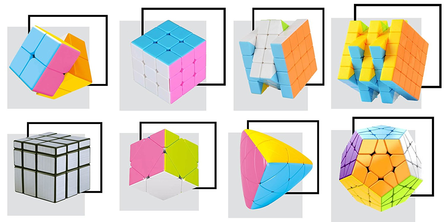 Pinjie Magic Cube Bundle Candy color Stickerless 2x2 3x3 4x4 5x5 mirror cube,megaminx,zongzi,skewb, luxury family pack, brain teasers, gifts for kids and teenagers who love magic cubes