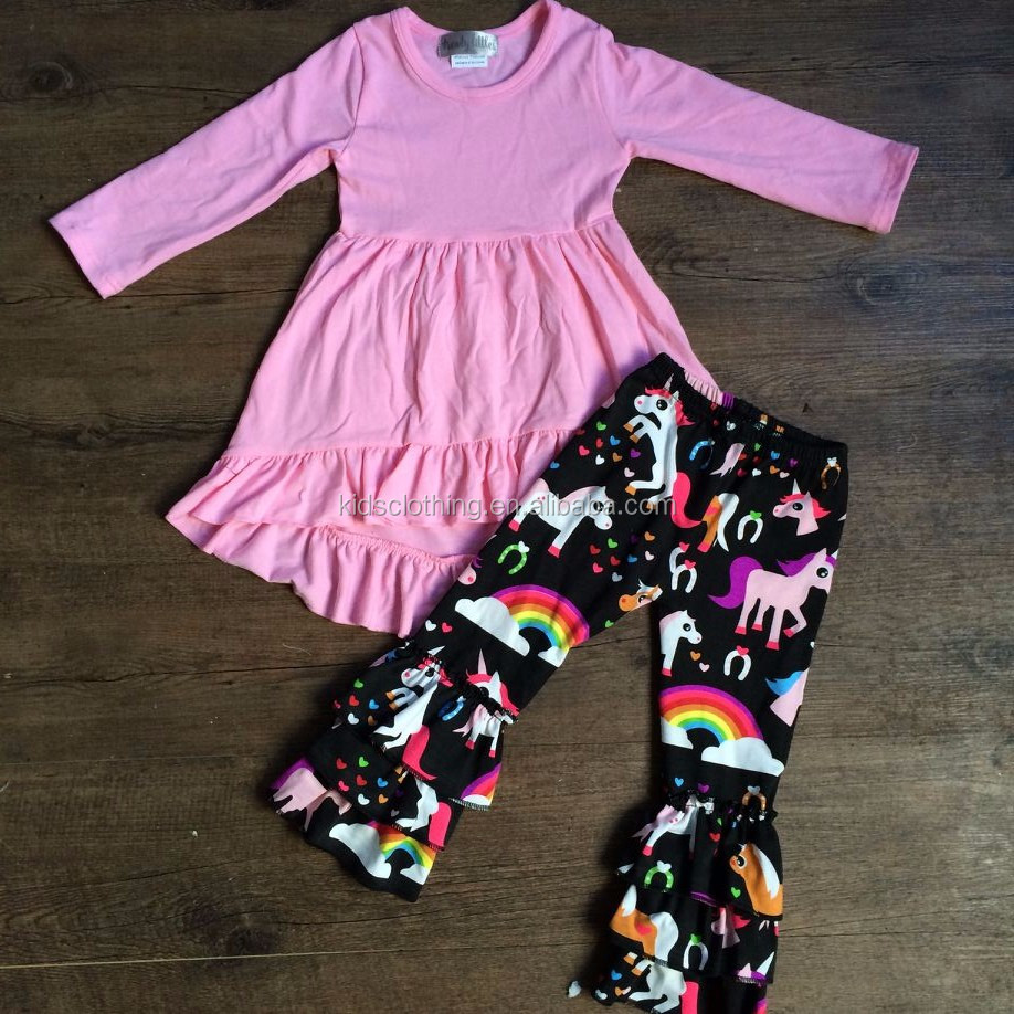 Latest kid unicorn outfit lovely infant unicorn ruffle pant spring outfit