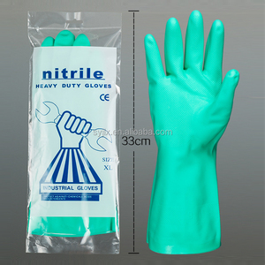 Nitrile flock lined working safety hand job protective gloves
