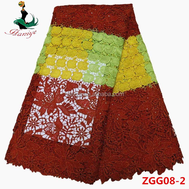 Embroidery designs Bridal Swiss Guipure Indian Cord Lace Fabric ZGG08