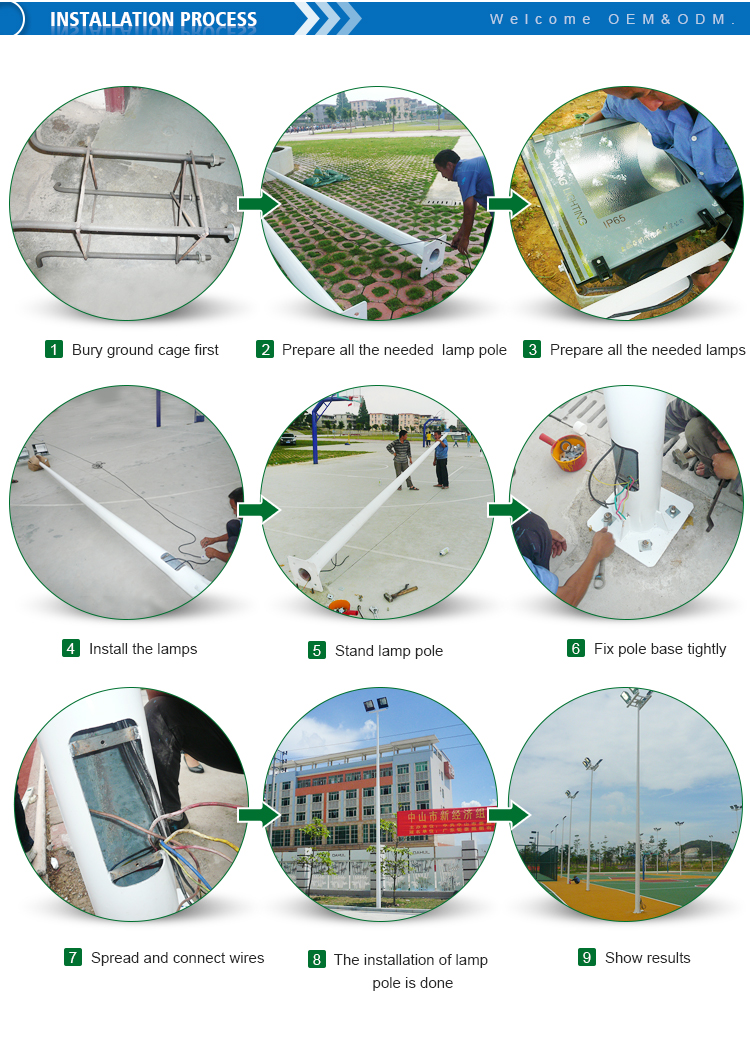 Environmental used stadium football field led lamp post lights pole base plate lighting mast