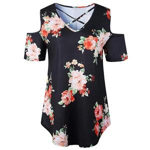 walson Women's Casual Off Shoulder Tops Lace up Blouses Floral Tunic Shirts