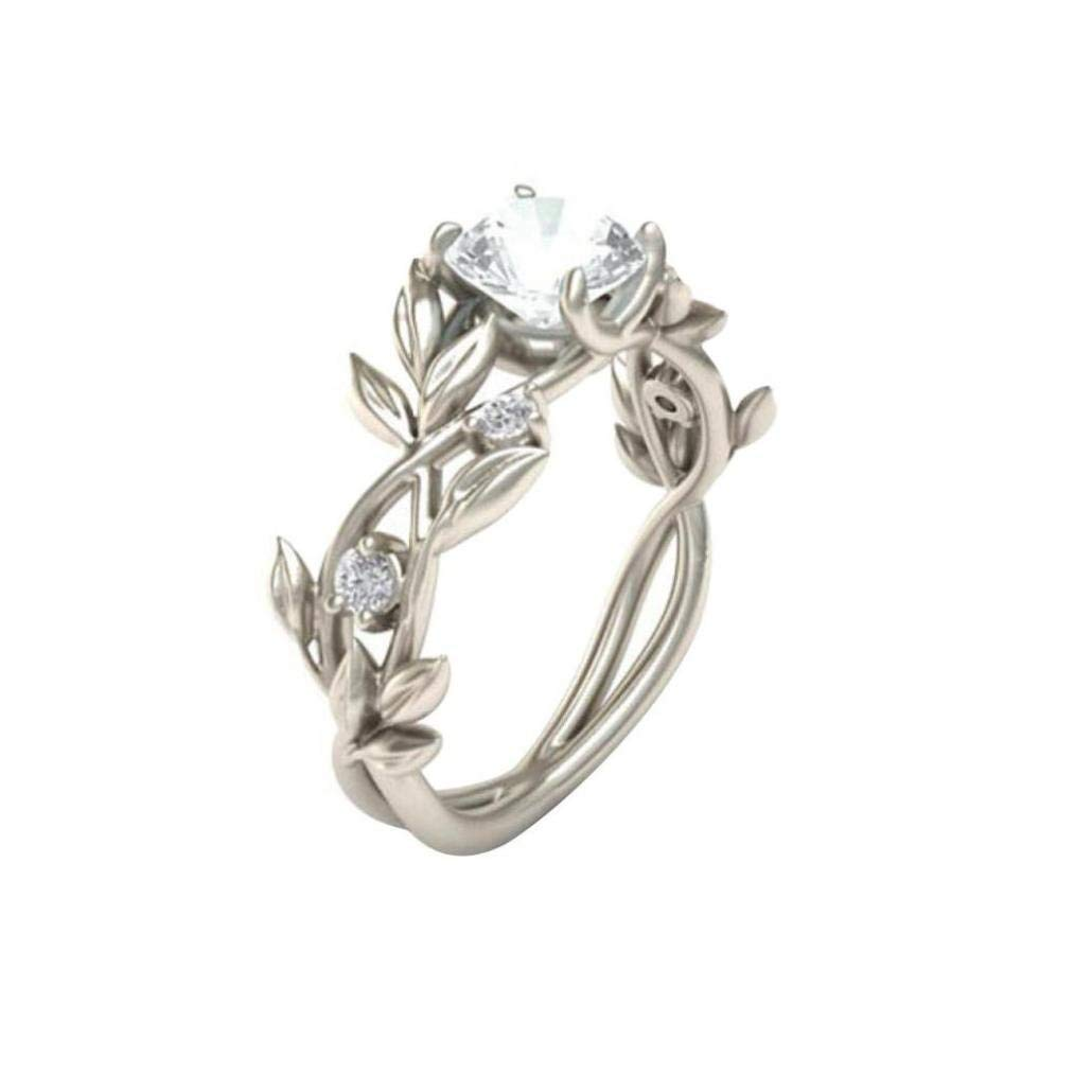 Daoroka Clearance Rings,ZYooh Women Floral Transparent Diamond Flower Vine Leaf Rings Engagement Wedding Rings Jewelry Gift (9, Silver2)