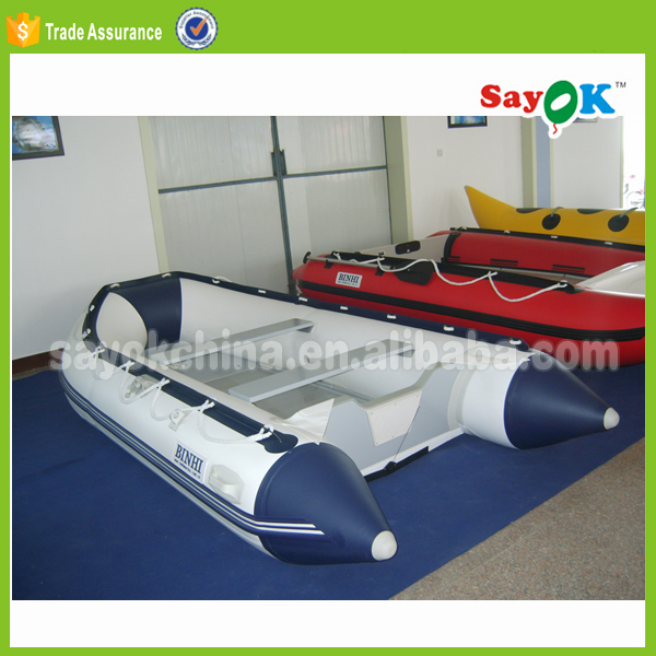 china manufacturers 360 folding PVC pontoon aluminum floor inflatable fishing boat with electric motor