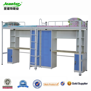 Guangzhou Metal Multifunction Bunk Bed With Desk And Wardrobe