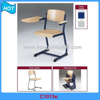 wooden conference student chair with writing tablet writing table