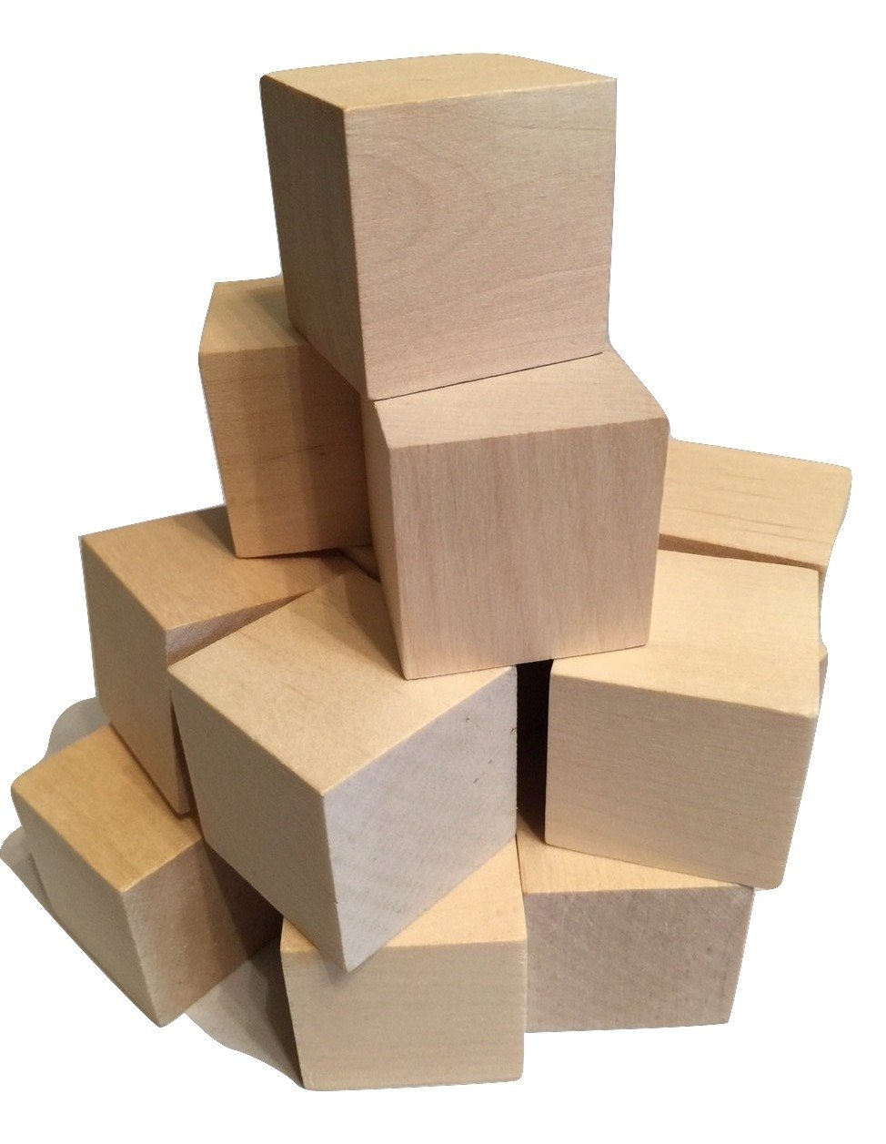 """BABY WOOD BLOCKS 1.5"""" INCH (24 pack), WITH FREE NUMBER & LETTER STENCIL, WOODEN CRAFT BLOCKS, for DIY, BABY SHOWERS, PUZZLES, CRAFTS, Made in USA by CROSSROAD Sales"""