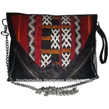 b90e0122bba nieuwe stijl Marokkaanse kelim tassen gemaakt met echt leer en handgeweven  kelim tapijten-