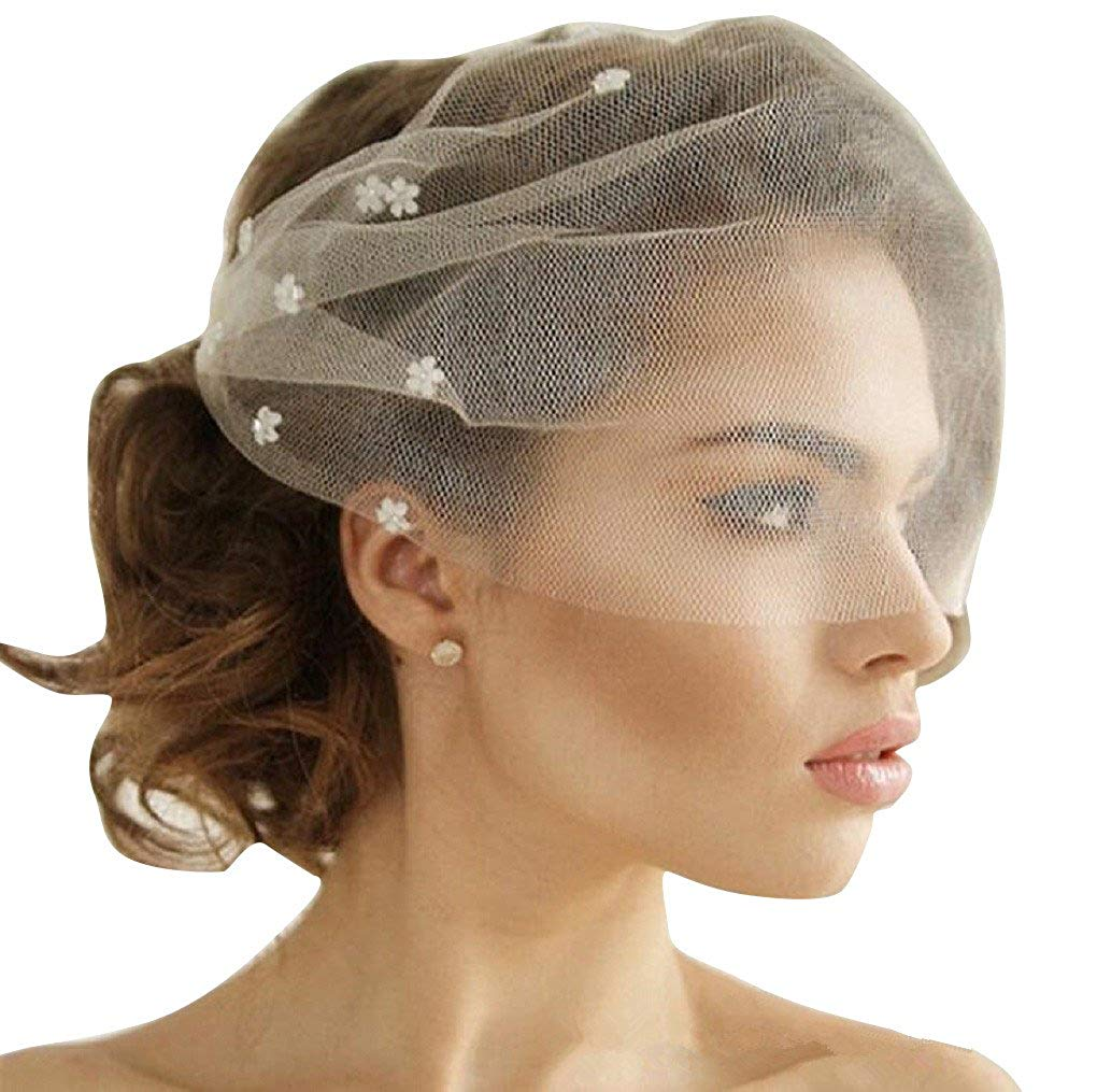 Adonis Pigou Birdcage Mesh Tulle Pearls Bridal Face Veils With Side Combs Party