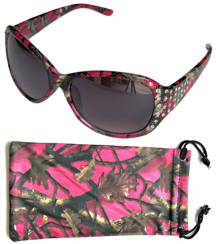 VertX Women's Hot Pink, Purple, Blue, Green Camouflage Sunglasses Oversized Rhinestone Designer Fashion Eyewear