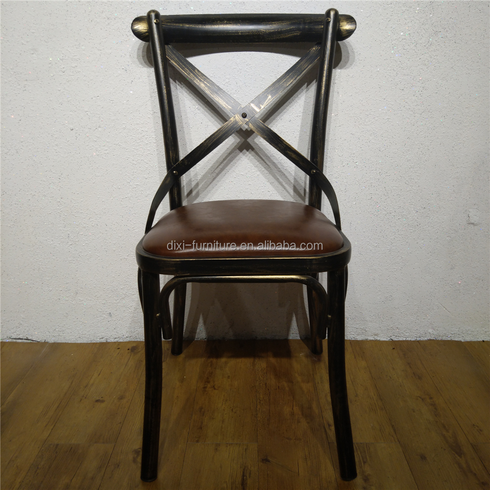 DS-3305 French Style Iron Cross Back Dining Chair