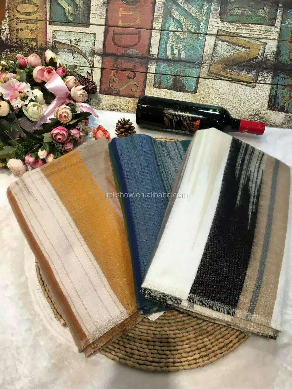 High Quality Thick Striped Pattern Men Women Winter Wool Scarf