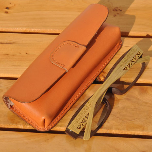 high quality handmade real leather cute eyeglasses case