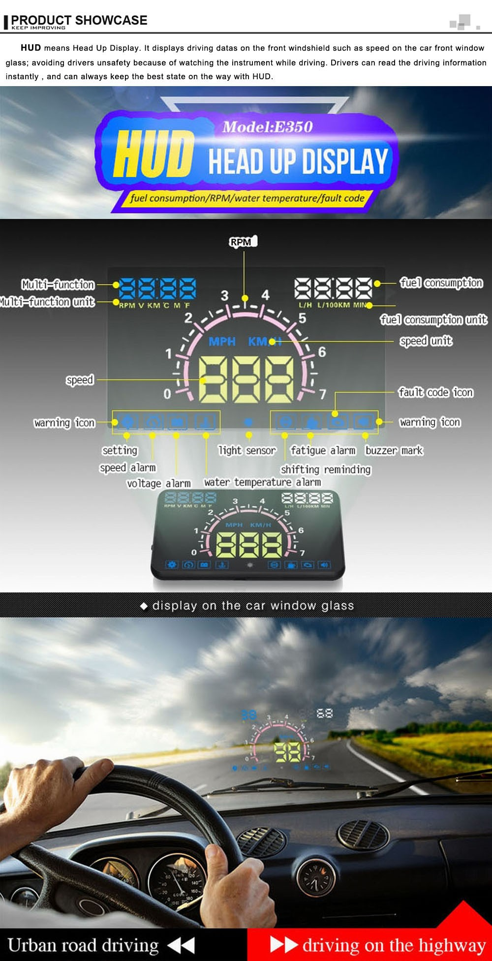 5.8 Inch E350 HUD head up display, multi-functional projection on car windshield projector