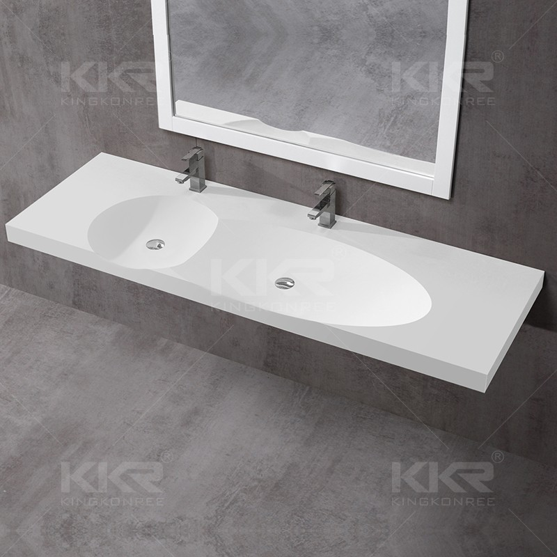 Polyester Vanity Sinks Square Shape Wall Hung Ceramic Basin Solid Surface Wash