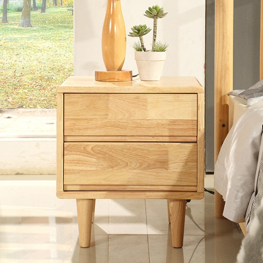 LJ&L Nordic solid wood bedside tables, double drawer storage bedside cabinets, smooth solid wood track, home bedroom office decor lockers,Rubber wood,17.715.719.6inch