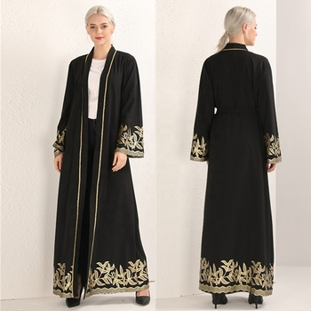 High Quality Print Floral Black Middle East Dubai Cardigan Robes With Fashionable Digital Prints Abaya Collection