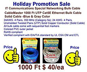 Vaster-00038 305 M UTP Cat5e Communication Networking Bulk-Solid- UL/CSA/CM-24Awg - FULL Copper Cable - GRAY