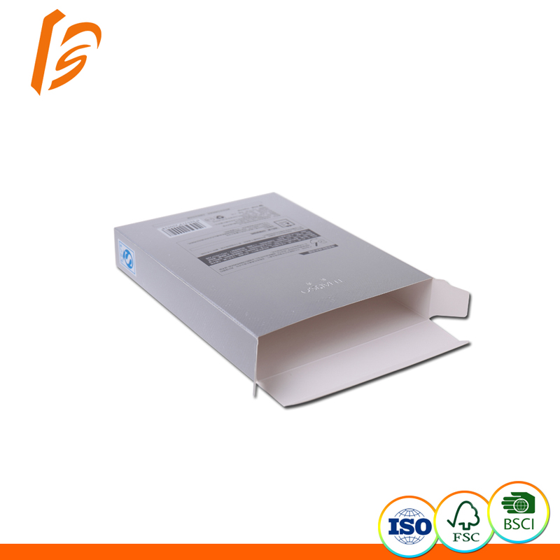 Wholesale Recyclable White Kraft Paper Box with Silver Printing for Mask