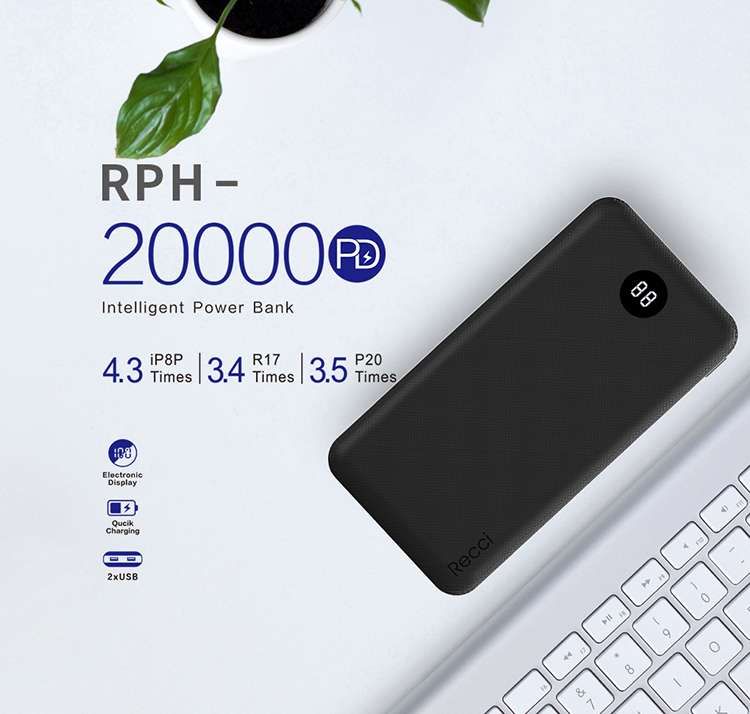 Recci promotional gift quick charging pd powerbank 20000mah