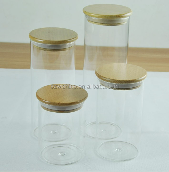 2 pound coffee glass canister with wood lid/glass container with wood lid/glass jar with wood lid