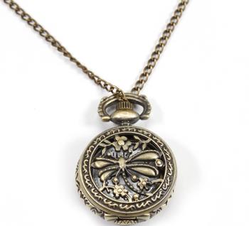 fc43a5798bf Fullmetal Alchemist Vintage Antique Liga Libélula Esculpida Flor Pedante  Colar Quartzo Relógio de Bolso