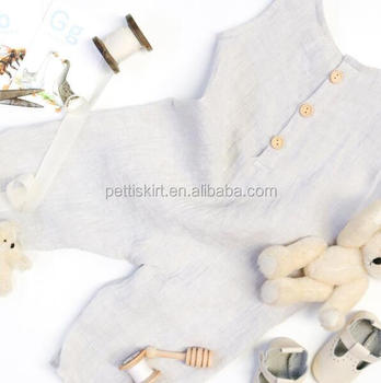 bbf25150e42 Linen Baby Romper Natural Sleeveless Bodysuit Baby Unisex Vintage Clothes