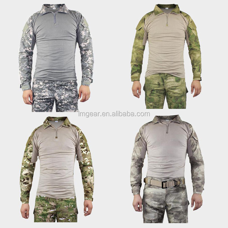 Camouflage tactical military clothing paintball army Tight shirts combat multicam militar tactica Gen2 shirts with elbow pads