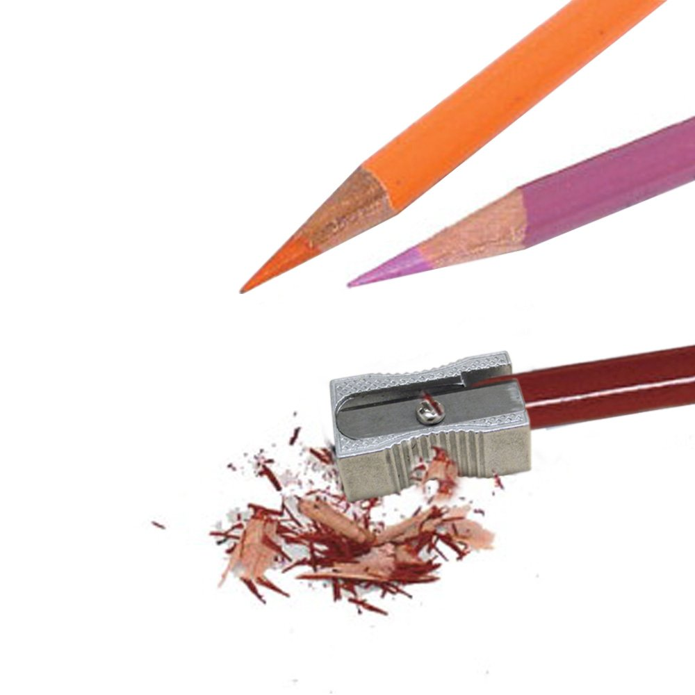 24 Metal Rectangular Silver Pencil Sharpeners, 1 Hole Steel Blade - Manual Pocket Pencil Sharpeners For Standard Size Pencils, Art Pencils, Kids Use. By Mega Stationers