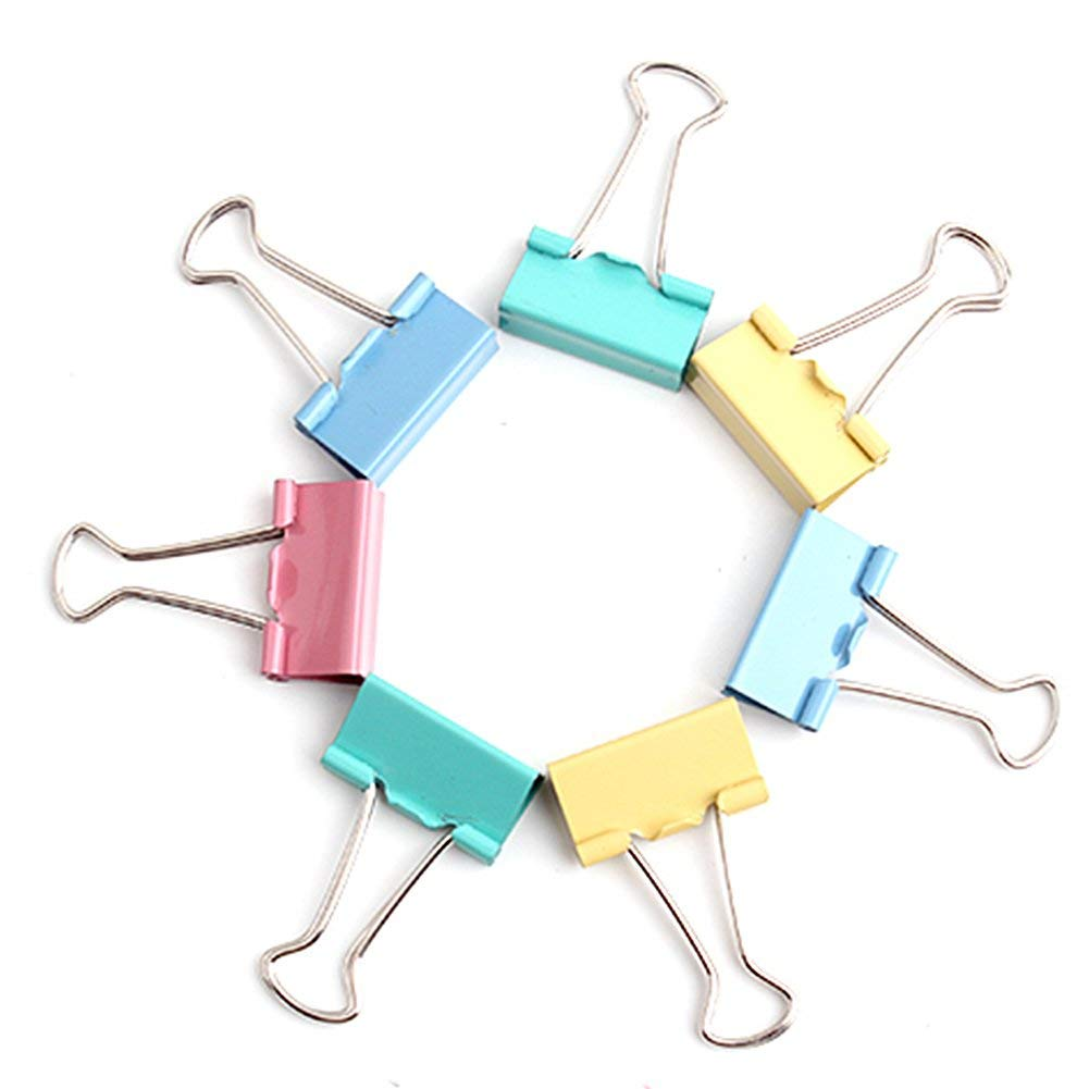 Foldback Clips, Denpetec 15 mm Metal Binder Clip Clamp for Home Office School Teacher, Paper Clips, 20PCS ( Random Color)