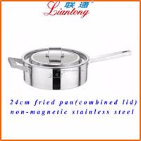 Factory cheap aluminum cooking pot stainless steel 24cm metal fried pan