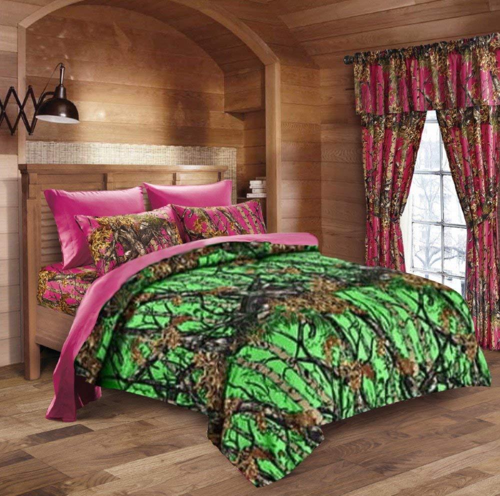 0990520dd005 Get Quotations · 20 Lakes Biohazard Green Camo Comforter, Sheet, Pillowcase  Set (King, Biohazard Green