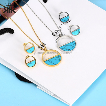 Free Shipping Surgical Stainless Steel Beautiful Turquoise Jewelry Sets Fine Costume Wedding Bride Parure Drop Shopping