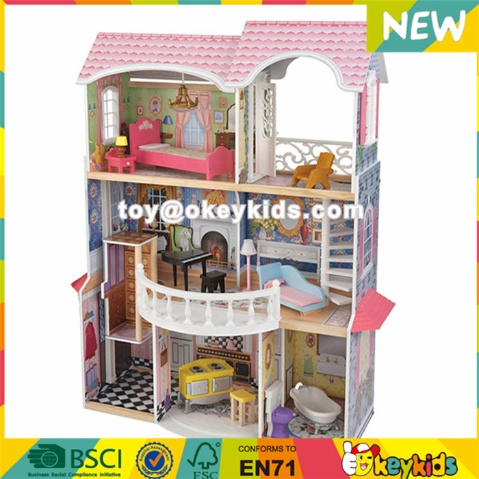 wholesale 34 furniture pieces luxurious girls wooden doll house toys new design kids wooden doll house toys W06A217