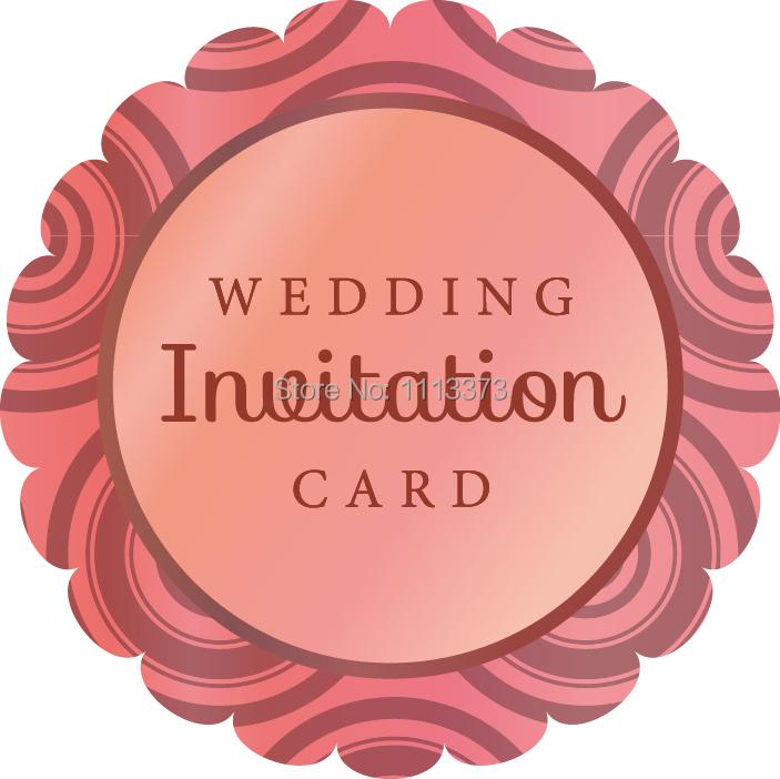 Round Wedding Invitation Label 1: 5cm WEDDING Invitation CARD Scalloped Round Label Envelope