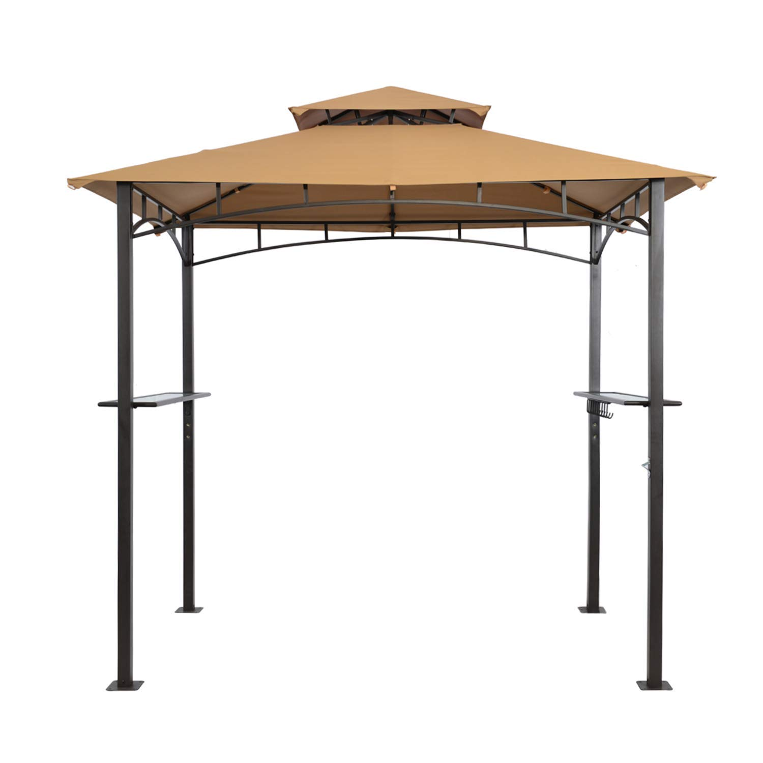suna outdoor Grill Gazebo 8 x 5 Ft, Outdoor Patio Barbecue Grill Gazebo BBQ Shelter Tent, Double Tier Soft Top Canopy and Steel Frame with Bar Counters, Beige
