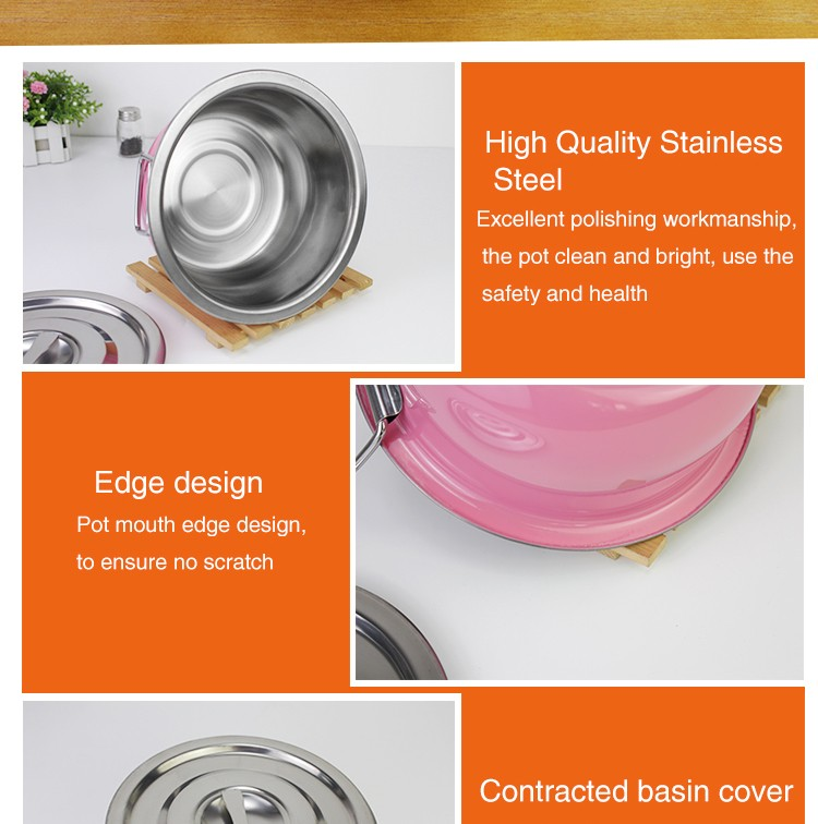 Allnice South American Market 14/18/22/26/30cm Colored SS410 5pcs stainless steel stock pot/stainless steel cooking pot