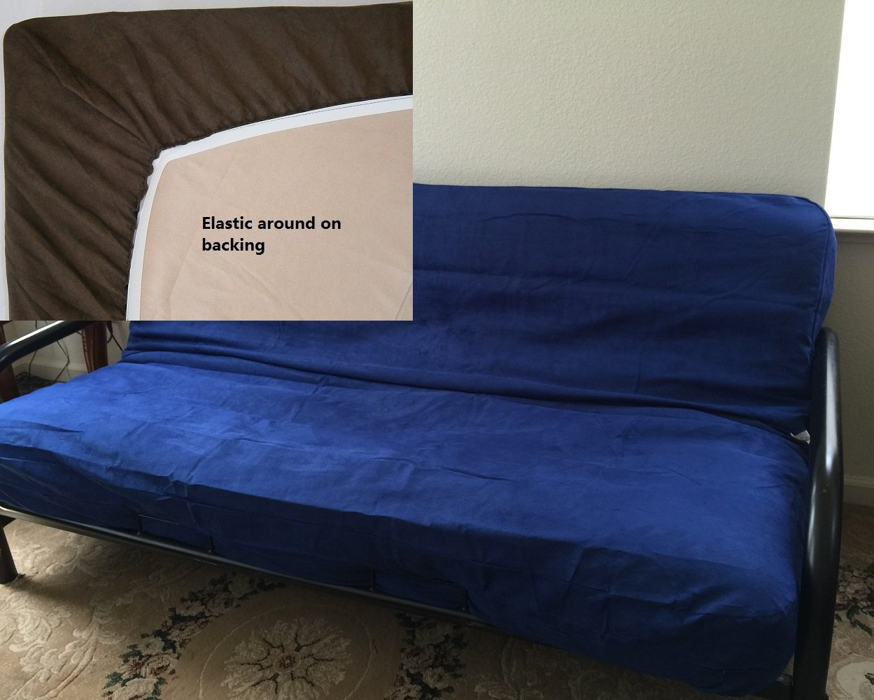 Get Quotations Octorose Full Size Elastic Bonded Micro Suede Easy Fit Ed Futon Cover Royal Blue