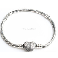 Excellent Quality Snake Chain 925 Sterling Silver Bracelet With Rhinestones Heart Clasp