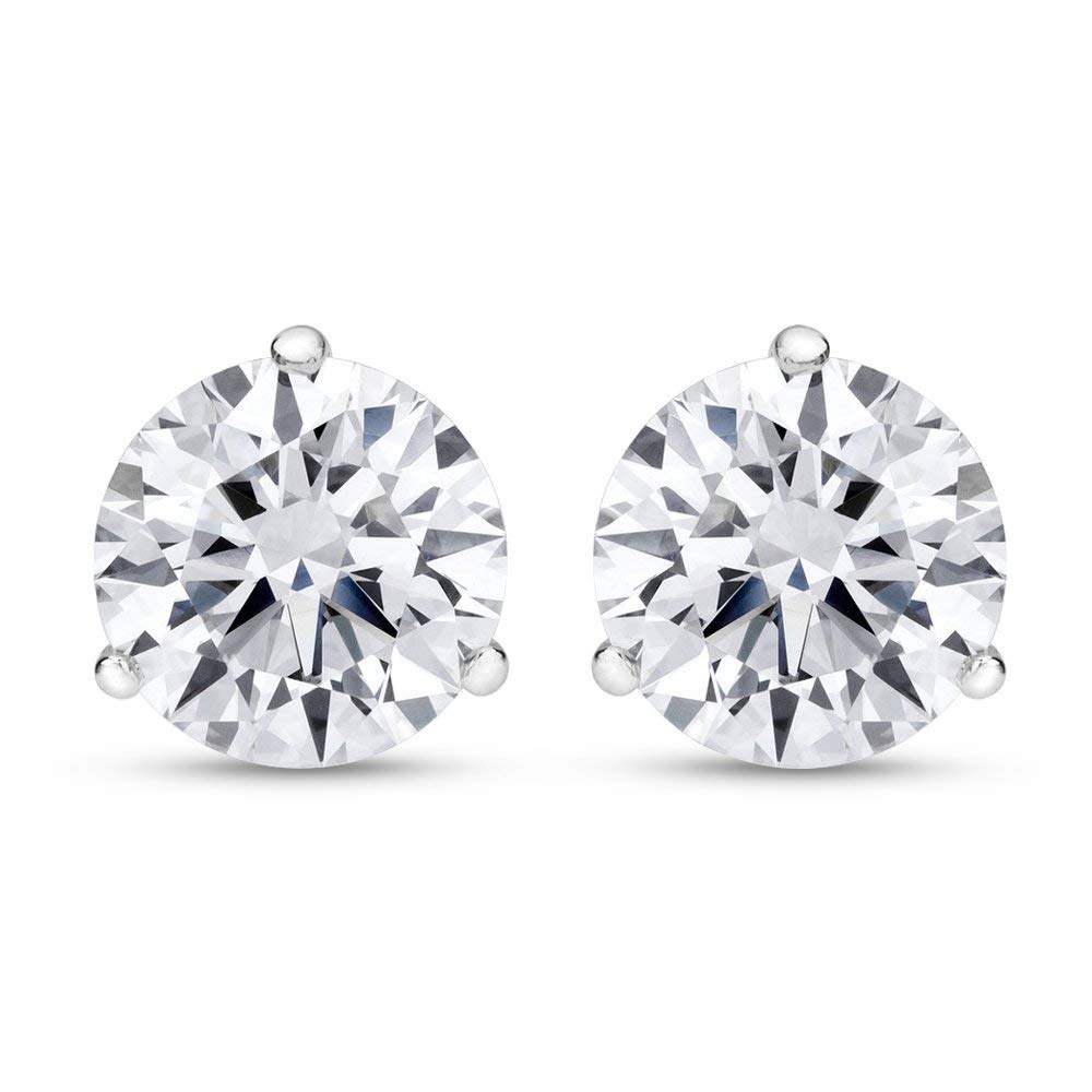 6a3cc9e5f Get Quotations · 1/2 - 2 Carat Total Weight Round Diamond Stud Earrings 3 Prong  Push Back