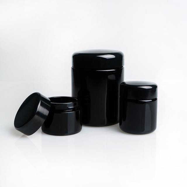 Purple Black Smell Proof Air Tight Weed UV Glass Stash Jar