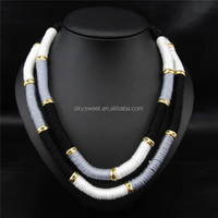 Choker necklace,handmade thread necklace,black white necklace jewelry (SWTNA1895-1)