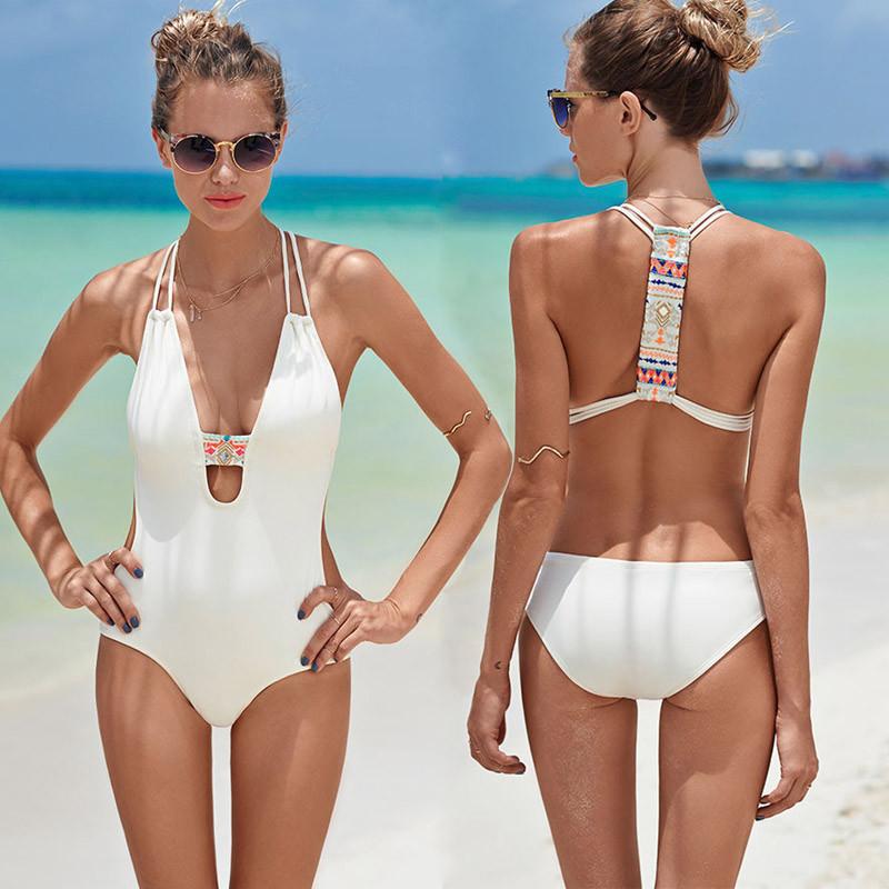 a5507d8e8f Black White cross back bodysuit Monokini Sexy one piece swimsuit Backless Swimwear  Women Bathing suit Beachwear Bather