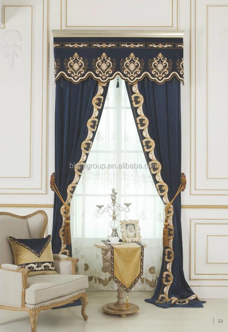 Intérieur Grandeur Luxueux Victorienne Style Saphir Rideau Et ...