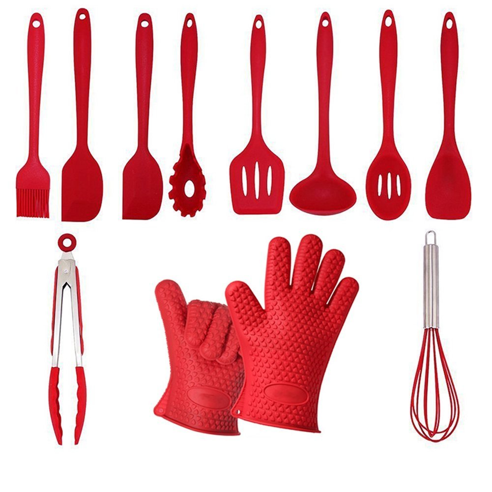 Silicone Kitchen Utensils Cooking Set 12 Pack,AOGVNA Non Stick Heat Resistant Cooking Utensils Baking Spatula,Spoons and Turner Silicone Kithcen Cooking Tools Gadget Set
